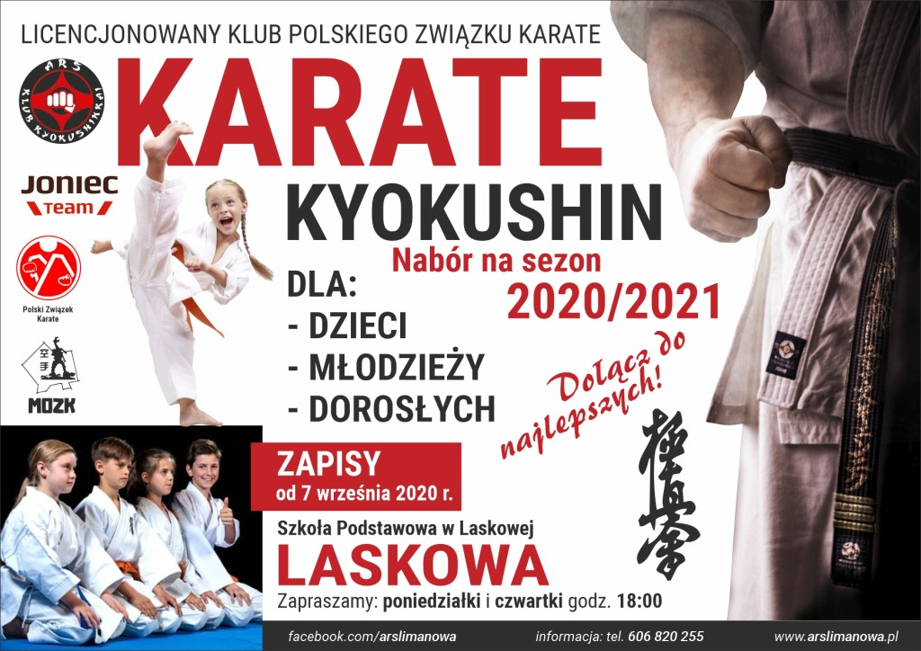 Nabór do sekcji Karate Kyokushin na sezon 2020-2021 - Laskowa
